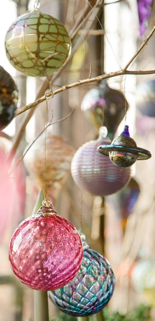Colorful ornaments enhance the Victorian Christmas celebration.