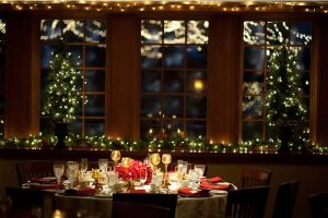 An elegant table setting at a holiday party